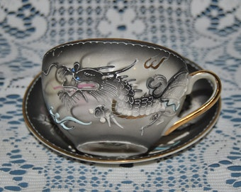 Beautiful Rare, Endo China, Hand Painted, Raised Dragon, Fine Bone China Teacup And Saucer