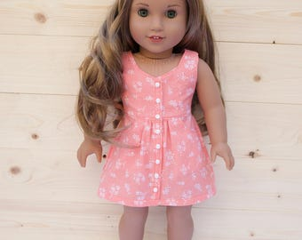 18 inch doll clothes AG doll clothes Trendy Pink / Orange Sundress with Pockets made to fit like American Girl doll clothes