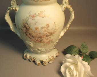 Huge Signed Jean Pouyat 1894 Vase Hand Painted Cherubs w/Gold Accents 2 Handles