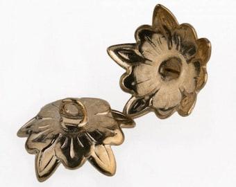 Vintage 12-14mm bead caps - goldtone. Pkg. of 6. b9-0151-1(e)