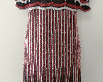 Vintage 1970's Natural Fibre Black, Red & White Knitted Midi-Dress UK Size 10-12