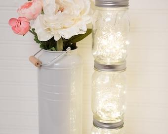 Mason Jar Centerpiece, Mason Jar Light, Firefly Lights, Fairy Lights, gold decor, wedding, lights, rustic