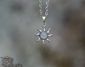 "Necklace "" Little Sun "" - Pink Quartz - Spiritual , pagan , nature , wicca , sun"