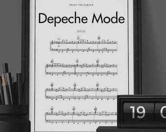 Depeche Mode Poster, Enjoy The Silence Song Music Notes Poster , Black & White Minimal Print Poster, Minimal Graphics, Music Poster
