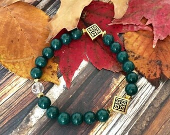 Green Mountain Jade Crystal Quartz Spiritual Bracelet
