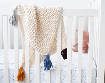 Hand Knit Baby Blanket-Choose Your Color