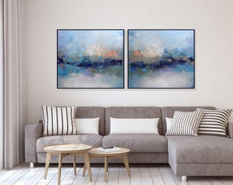 Abstract Painting Extra Large Wall Art Canvas Original Diptych Blue Living