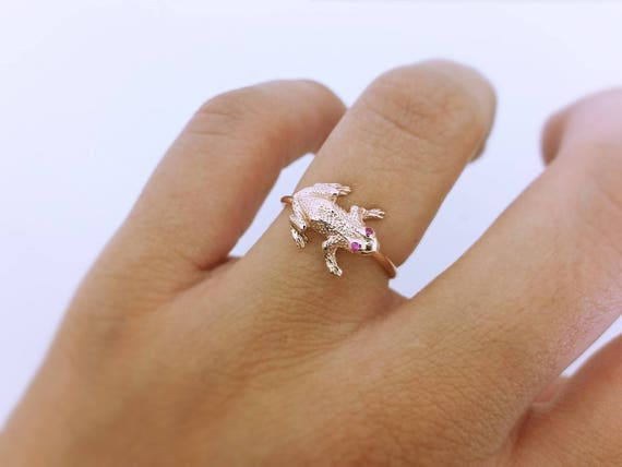 Diamonds ring Solid gold Frog Frog diamonds Gold frog