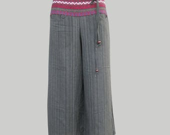 SALE 20% off and Free Gift !!! ** Hmong Pants Wide Leg Cotton Pants for Ladies Boho Hippie Trouser Ethnic Thai Pants
