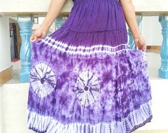 Purple Tie Dye Patchwork Skirt Handmade Rayon Fabric Boho Beach Festival Skirt
