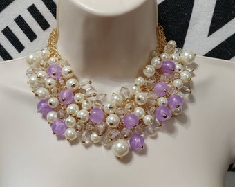 Purple,White, and Clear Lucite Bauble, Cluster Bead Gold tone Necklace Choker