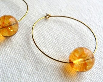 Brass earrings yellow gold and natural stones.