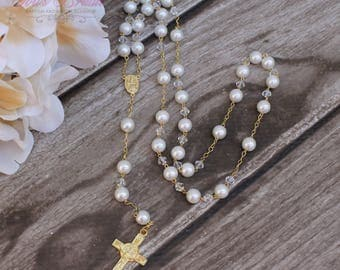 FAST SHIPPING! Handcrafted Beautiful Rosary, Wedding Rosary, Communion Rosary, Christening Rosary, Confirmation Rosary, Rosary Gift, Baptism