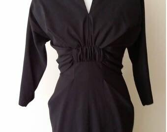 Vintage 40s dress, S, M, DorothyOhara, bombshell dress, vintage 50s dress, black dress, wool dress, fall dress, winter dress