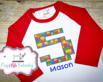 Building Block birthday shirt, Block birthday shirt, Brick Birthday Shirt, boys birthday shirt, block embroidery, block applique