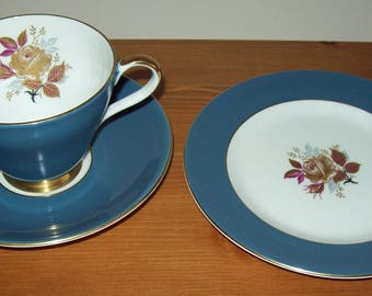 Blue Royal Grafton fine bone china trio with floral details & gold gilding A B Jones and Sons 1950s/early 60s cup saucer plate