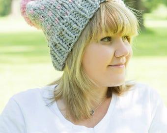 Ready to ship! Fair Isle Pink & Grey Winter Hat