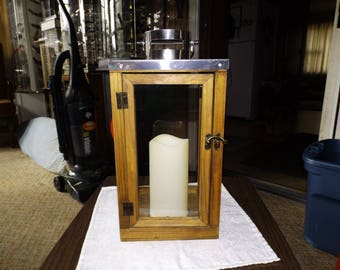 Wood Lantern, Vintage Lighting, Hurricane, Candle Lantern, Home Decor, French Cottage, Rustic, Farmhouse, Wedding Decor, Gift for Her, Glass