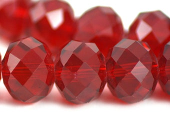 Chinese Crystal Extra Large Rondelle Transparent Cherry Red 16x12mm
