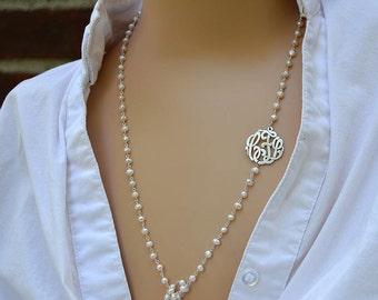 Birthday gift Monogram necklaces,Initial monogram necklaces,Long pearl necklaces, Initial  monogrammed pearl necklaces,Custom monograms.