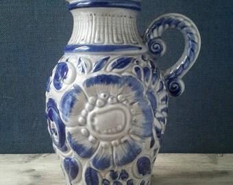 West Germany vase Blue, Scheurich vase, Scheurich vase, Granny chic vase, Christmas gift, WG 487-28, West Germany jug Retro vase flower