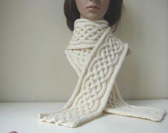 Knitting pattern scarf Celtic braid scarf Irish cable knit cable scarf tutorial knit pattern Aran scarf winter cable shawl Celtic knot scarf