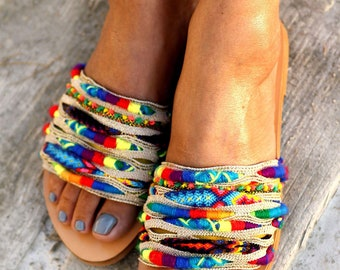 """Sandals """"Over the Rainbow"""" Beize (handmade to order)"""