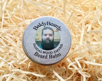 Sandalwood Amyris beard balm. A natural scented balm for beard hydration, softening, taming. Beard grooming management products, BaldyBeardy