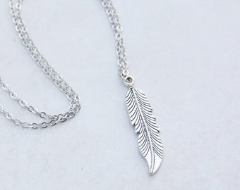 Silver Feather Necklace, Feather Necklace, Boho Necklace, Layering Necklace, Feather Pendant, Large Feather, Pendant Feather, Feather Etsy