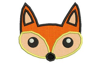 Cute Fox Applique Design Applique embroidery design for 4X4 Embroidery Hoop for INSTANT DOWNLOAD Embroidery File pes,dst,xxx,jef,vp3,vip,sew