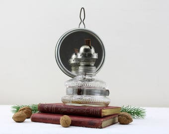 Vintage oil lamp Kerosene Oil Lamp Made in Germany Metal and glass lamp wall oil lamp with mirror