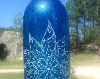 Abundance Turquoise Upcycled Etched Wine Bottle light