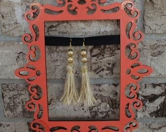 Natural Fiber Earrings, Straw Earrings, Tweed Earrings, Jute Earrings, Tassel Earrings, Handmade Earrings, Valentine's Day Gift