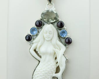 Mermaid TOTEM Goddess Face Moon Face Bone Carving 925 S0LID Sterling Silver Pendant + 4MM Chain p4324