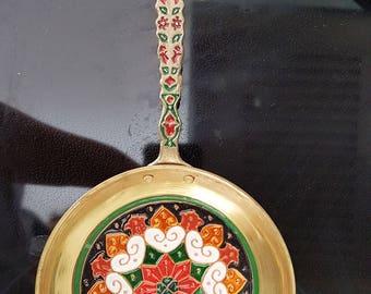 Vintage Souvenir,Souvenir Fry pan, GREECE, Souvenir,Brass,  Copper,  Enamel decor,Kitchen  Decor, Handmade souvenir,Wall  kitchen Decor