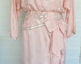 1980s Dress Oleg Cassini Designer Beaded Flapper Style