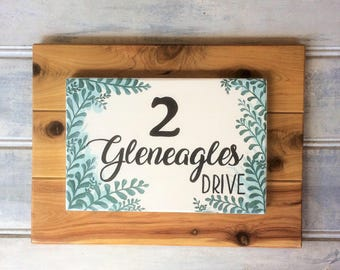 Home address sign - Housewarming gift - Custom made - Street name - House number - Hand painted Cypress wood - Family address sign - Teal