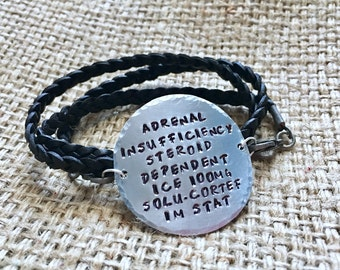 Leather Medical Alert Bracelet, Custom Medical Alert, Leather Medical ID, Medical ID Bracelet, Black Alert Bracelet, Leather Alert Wrap