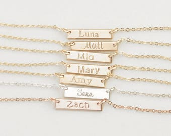 FEMI Bar Necklace • 15x3mm Bar Necklace • Tiny Bar Necklace, Delicate Bar Necklace, Custom Necklace, Layering Necklace, Dainty Name Plate