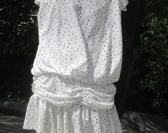 Kings Row Black-on-White Polka Dot Dress, Flapper Style Dress