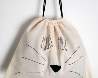 Sac pochon MEOW / Coton pouch bag / Cat