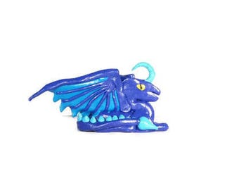 Blue Dragon Statue, Dragon Ornament, Dragon Decoration, Dragon Figurine, Dragon Sculpture, Dragon Model, Fimo Dragon, Polymer Clay Dragon