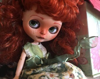 Custom Blythe Factory Doll, OOAK, Celtic Redheaded Customized Blythe with Freckles