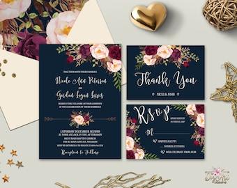 Navy Burgundy Wedding Invitation Printable Boho Floral Wedding Invite Marsala Peony Rustic Wedding Invitation Suite Digital or Printed