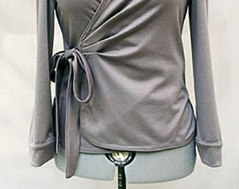 Grey jersey wrapped top - sweat wrapped shirt - grey wrapped shirt - grey wrapped blouse - Hand made - Made in France