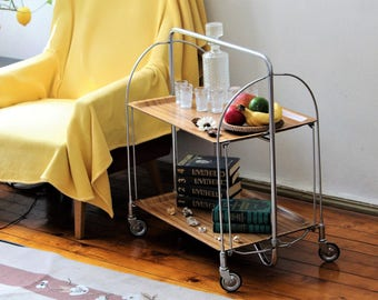 Side Table - Serving Table - Bar Cart - Drinks Trolley - Folding Bar Trolley - Tea Trolley - Coffee Table - End Table - Retro Trolley Table