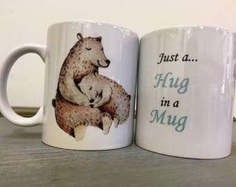 LIMITED EDITION* Bear Hugs in a Mug | Mothers Day | Gifts for her | Gifts for Mum | Ideas for Mum | Best Friend | Winter Bear | Watercolours