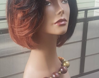 READY TO SHIP: 100% Human Hair Ombre 1B/33 Bob Upart Wig