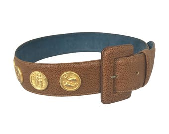 FENDI Vintage Brown Zodiac Gold Coin Medallion Belt Grained Tan Leather Waist Belt