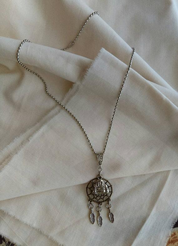 3D Buddha Dreamcatcher Pendant Necklace Antique Bronze Tibetan Silver Stainless Ball Chain